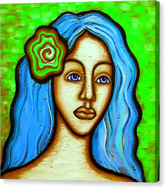 Lady With Green Flower Canvas Print by Brenda Higginson