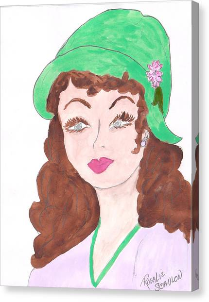 Lady With The Green Hat Canvas Print by Rosalie Scanlon