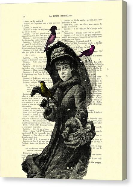 Winter Storm Canvas Print - Lady With Umbrella In Winter Landscape Print On Old Book Page by Madame Memento