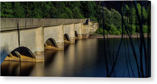 Canvas Print featuring the photograph Ladybower Reservoir Reflecting Viaduct by Scott Lyons