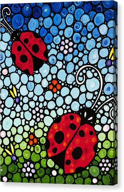 Ladybugs Canvas Print - Ladybug Art - Joyous Ladies 2 - Sharon Cummings by Sharon Cummings