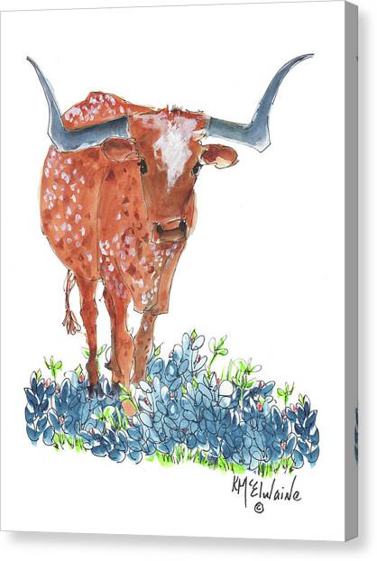 Ladybug In The Bluebonnets Lh002 By Kmcelwaine Canvas Print