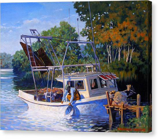 Shrimping Canvas Print - Lafitte Skiff by Kevin Lawrence Leveque