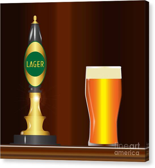 Pint Glass Canvas Print - Lager On The Bar by Bigalbaloo Stock