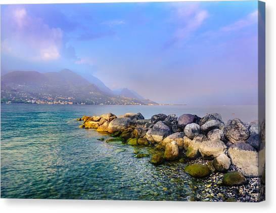 Lago Di Garda. Stones Canvas Print