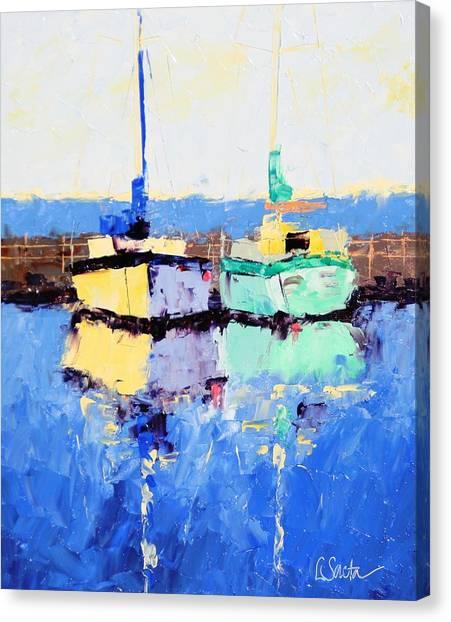 Lahaina Boats Canvas Print by Leslie Saeta