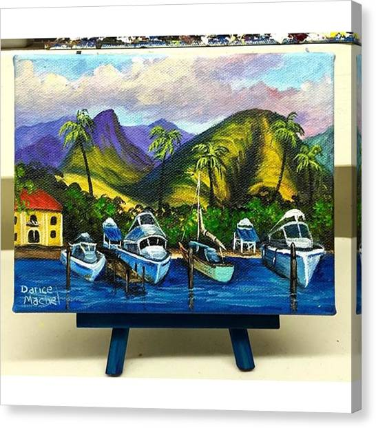 Artist Canvas Print - Lahaina Harbor 5x7 Acrylic Painting Now by Darice Machel McGuire