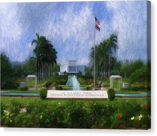 Laie Hawaii Temple Canvas Print