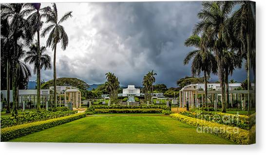 University Of Hawaii Canvas Print - Laie Temple by Jon Burch Photography