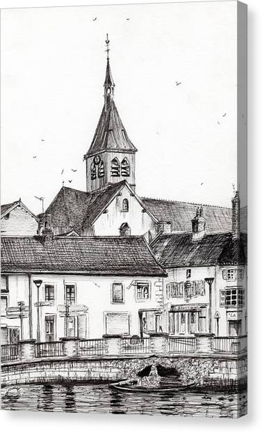 Pen And Ink Drawing Canvas Print - Laignes France by Vincent Alexander Booth