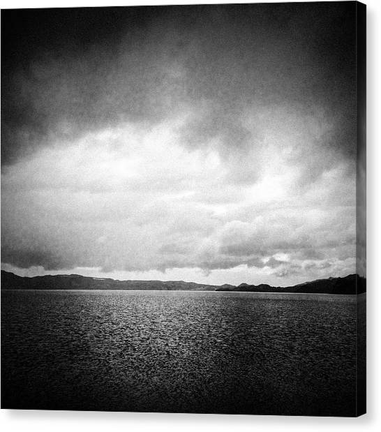 Minimalism Canvas Print - Lake And Dramatic Sky Black And White by Matthias Hauser