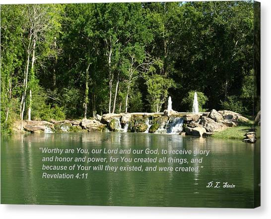 Lake At Cinco Ranch With Scripture Canvas Print by Dennis Stein