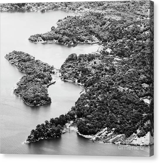 Canvas Print featuring the photograph Lake Atitlan Shoreline Town Black And White by Tim Hester