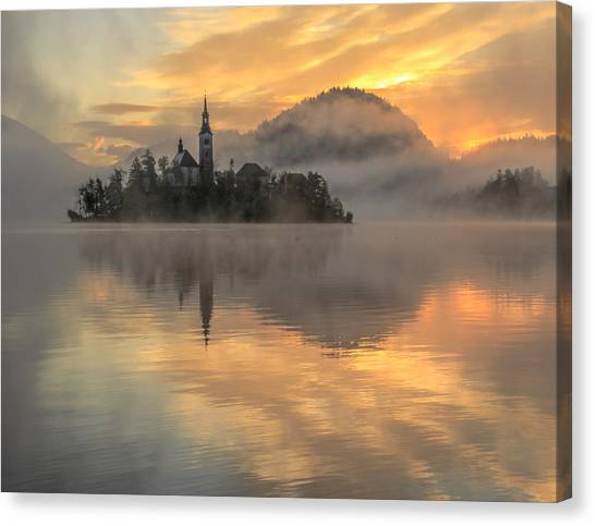 Lake Bled Sunrise Slovenia Canvas Print