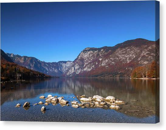Canvas Print featuring the photograph Lake Bohinj by Davor Zerjav