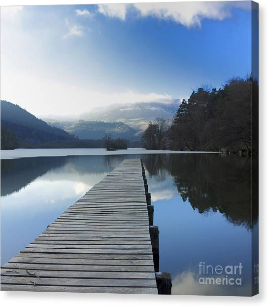 Pontoon Canvas Print - Lake Chambon. Auvergne. France by Bernard Jaubert