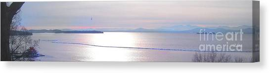 Lake Champlain South From Atop Battery Park Wall Panorama Canvas Print