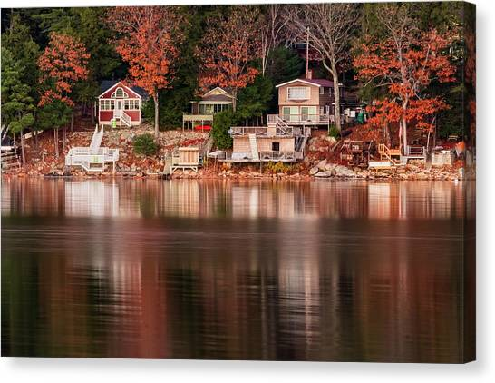 Lake Cottages Reflections Canvas Print