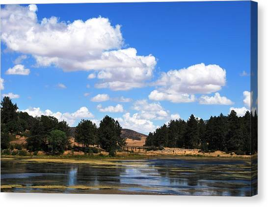 Lake Cuyamac Landscape And Clouds Canvas Print