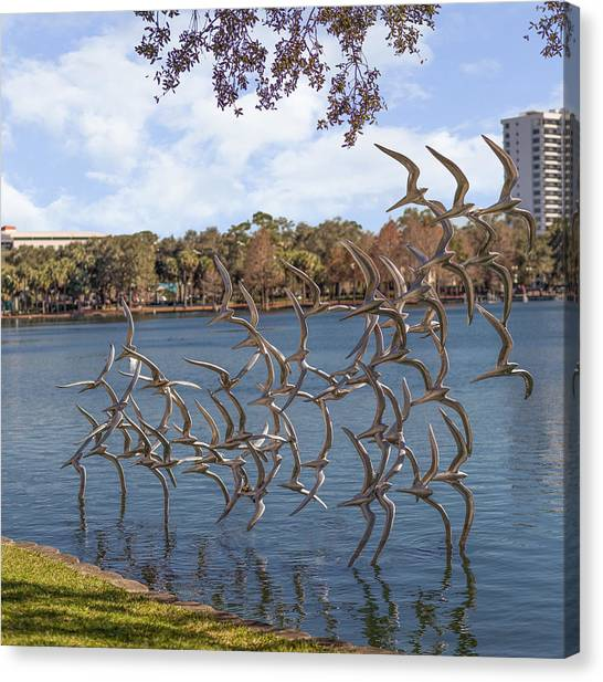 Sightseeing Canvas Print - Lake Eola Park by Capt Gerry Hare