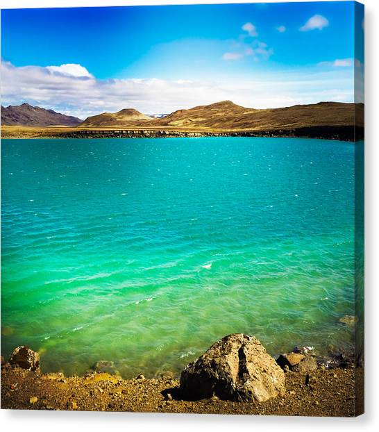 Drinks Canvas Print - Lake Graenavatn In Iceland Green And Blue Colors by Matthias Hauser