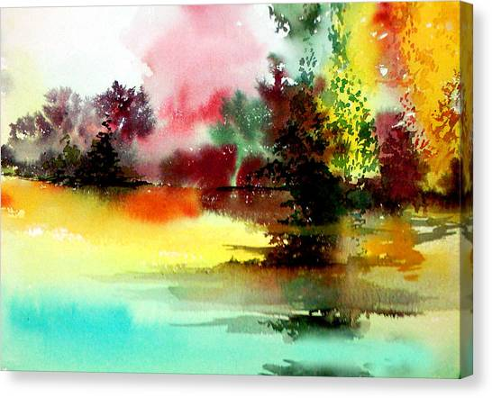 Lake In Colours Canvas Print