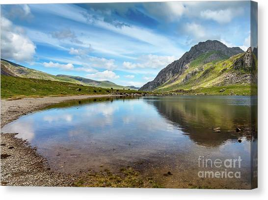 Tryfan Mountain Canvas Print - Lake In Snowdonia by Adrian Evans