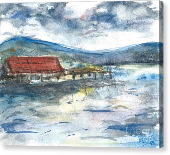 Canvas Print featuring the painting Lake Leatherwood Eureka Springs Boat Dock  by Reed Novotny