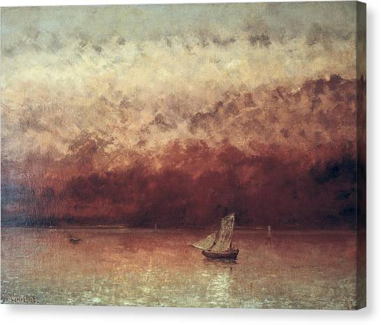 1876 Canvas Print - Lake Leman With Setting Sun by Gustave Courbet