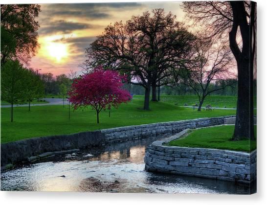 Disc Golf Canvas Print - Lake Leota Allen Creek Sunset by Peter Herman