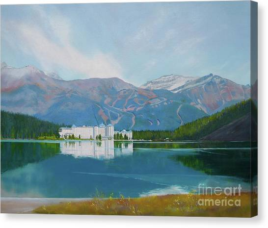 Water Skis Canvas Print - lake Louise Chateau Hotel by Linda Hunt