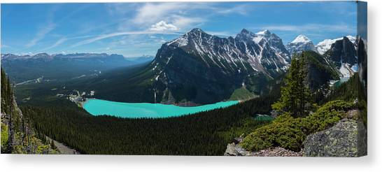 Canvas Print featuring the photograph Lake Louise From Little Beehive Overlook by Owen Weber