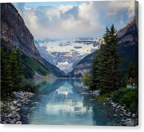 Canada Glacier Canvas Print - Lake Louise Summer Morning by Joan Carroll