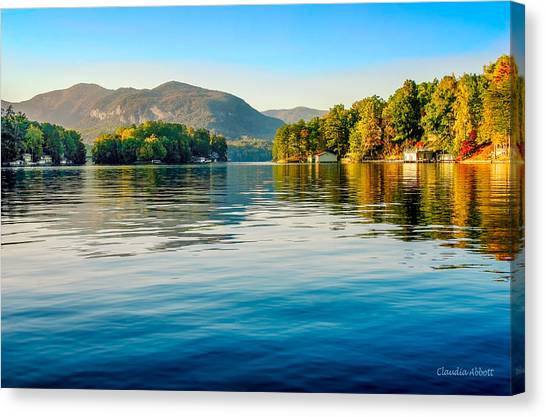 Canvas Print featuring the photograph Lake Lure On A Calm Fall Morning by Claudia Abbott
