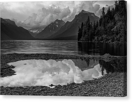 June Lake Canvas Print - Lake Mcdonald Sunset In Black And White by Mark Kiver