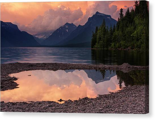 Beauty Mark Canvas Print - Lake Mcdonald Sunset by Mark Kiver