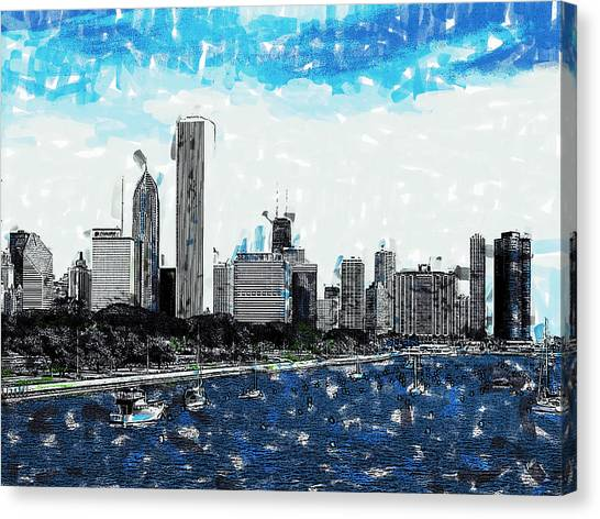 Lake Michigan And The Chicago Skyline Canvas Print