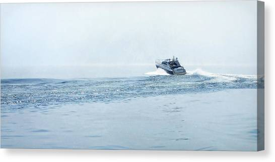 Canvas Print featuring the photograph Lake Michigan Boating by Lars Lentz