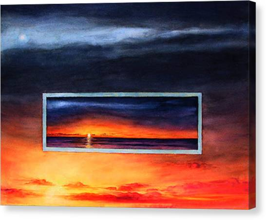 Lake Michigan Sunrise Canvas Print by Nancy  Ethiel