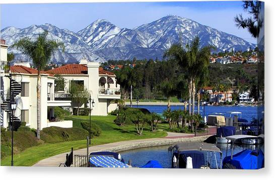 Lake Mission Viejo Snow On Saddleback Mountain Canvas Print
