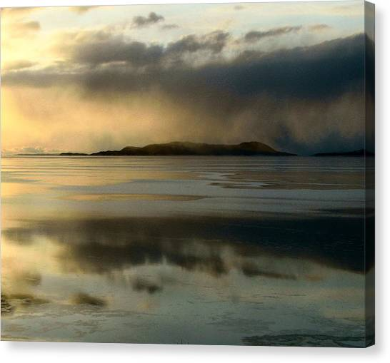 Lake Mist Over Pic Island Canvas Print by Laura Wergin Comeau