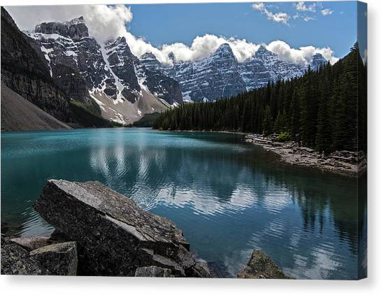 Canada Glacier Canvas Print - Lake Moraine Canada Rocks by Dave Dilli