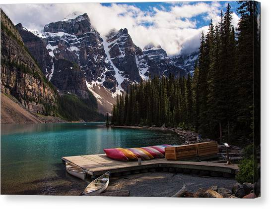 Canada Glacier Canvas Print - Lake Moraine Canoes Canadian Rockies by Dave Dilli