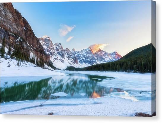 Lake Moraine Sunset Canvas Print