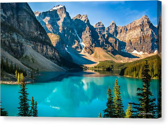 Canvas Print featuring the photograph Lake Moraine Valley Of Ten Peaks by Claudia Abbott