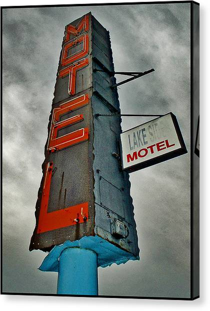 Lake Motel Canvas Print by Curtis Staiger
