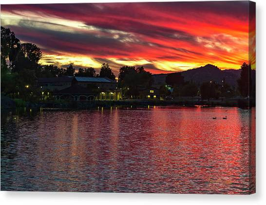 Canvas Print featuring the photograph Lake Of Fire by Dan McGeorge