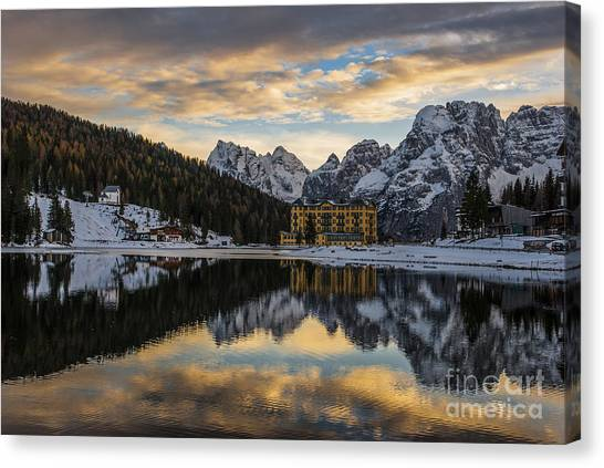 Alps Canvas Print - Lake Of Misurina by Yuri San