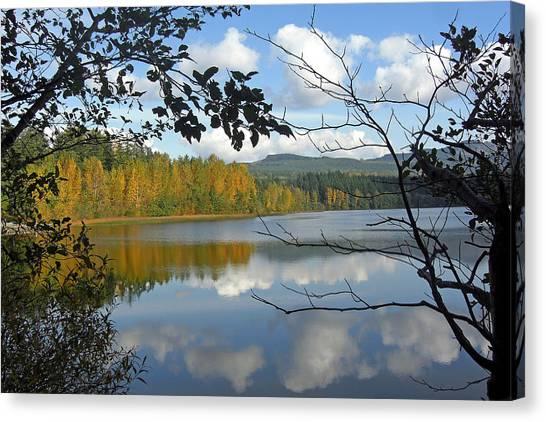 Lake Padden Fall Reflection Canvas Print by Matthew Adair