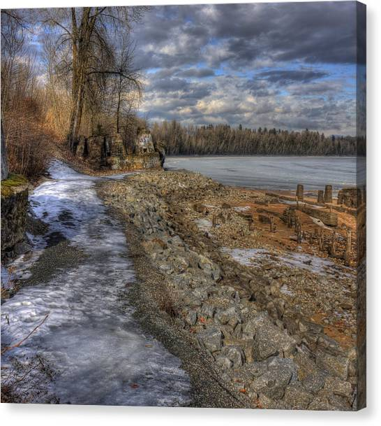 Lake Pend D'oreille At Humbird Ruins Canvas Print